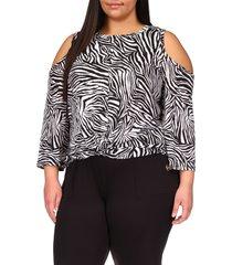 michael michael kors zebra cold shoulder top, size 3x in white/black at nordstrom