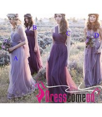 wonderful a line lavender tulle long bridesmaid prom dress,wedding party gowns