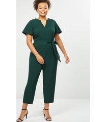 lane bryant women's lena flutter-sleeve notch-neck jumpsuit 22 forest green