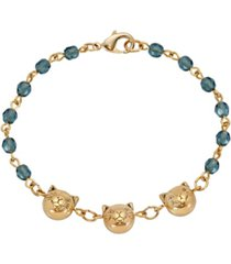 2028 women's 14k gold dipped cat faces on blue beaded chain bracelet