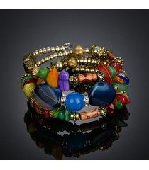 braccialetto d'argento di pietra del braccialetto di agata del braccialetto in rilievo di multi strato per le donne gioielli etnici