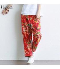 zanzea mujeres más elástico de la cintura florales pantalones sueltos pantalones casual de las señoras de largo -rojo
