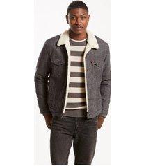 levi's men's type 3 denim sherpa jeans trucker jacket carbon brushed