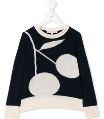 bonpoint cherry print sweater - blue