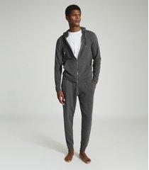 reiss greg - melange zip through hoodie in dark grey, mens, size xxl