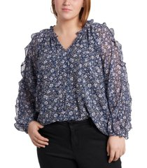 1.state trendy plus size ruffled cold-shoulder printed top