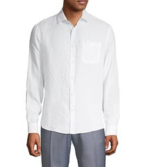 spread collar linen button-down shirt
