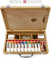 royal talens - cobra water mixable oil art set in premium wooden case