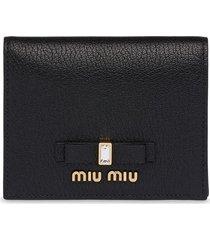 miu miu bow compact wallet - black