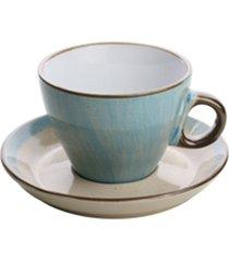 conjunto 4 xícaras porcelana para chá com pires azul 200ml