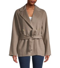 vince women's belted wool-blend cardigan coat - heather granite - size m