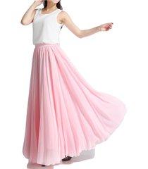 pink high waist maxi chiffon skirt women summer wedding swing chiffon maxi skirt