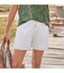 sundance catalog women's gigi eyelet shorts - petites in white petite 2xs