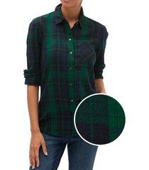 blusa drapey cuadrille verde gap