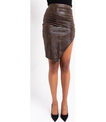 akira snake print pu skirt with slit