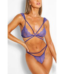 multi strap pretty lace bralette and brief set, cobalt