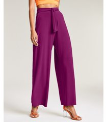 bar iii solid tie-front wide-leg pants, created for macy's
