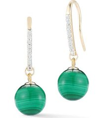 14kt gold single malachite drop earrings