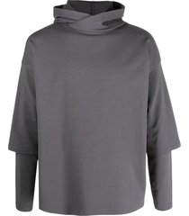 alchemy layered drop-shoulder hoodie - grey