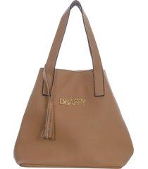 bolsa dhaffy bolsas grande saco alça de ombro caramelo - tricae