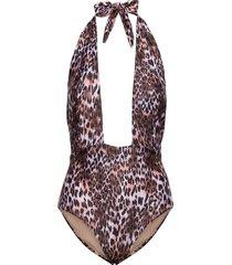 leopard wrap bs h baddräkt badkläder brun hunkemöller