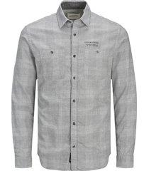 overhemd lange mouw jack & jones 12180869 jcoutility shirt ls worker light grey melange/slim