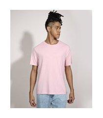 camiseta básica manga curta gola careca rosê