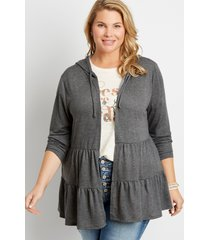 maurices plus size womens gray tiered open front hooded cardigan