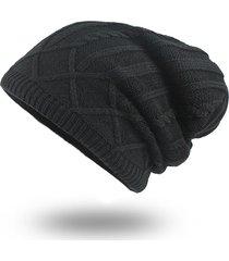 cappello lavorato a maglia in velluto di lana da uomo cappello da elastico caldo in inverno
