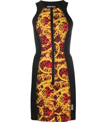versace jeans couture panelled baroque-print dress - yellow