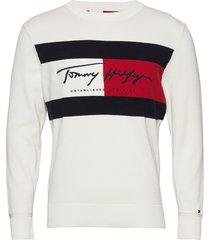 autograph flag sweater gebreide trui met ronde kraag wit tommy hilfiger