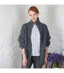 women's aran zipper cardigan charcoal xl