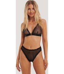 na-kd lingerie brazilian trosa med volang - black