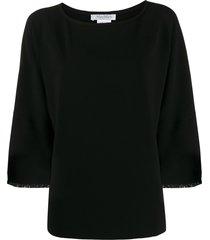 max mara frayed sleeve top - black