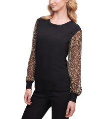 dkny leopard-sleeve sweater, created for macy's