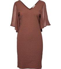crlea dress knälång klänning brun cream