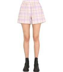 ganni checked shorts