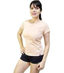 pijama conjunto camiseta salmao e short feminino - feminino