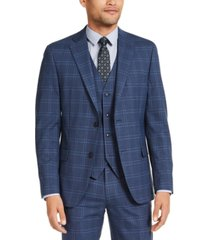 alfani men's slim-fit stretch navy blue plaid suit jacket, created for macy's