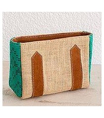 leather accented jute and cotton cosmetic bag, 'guatemalan valley' (guatemala)