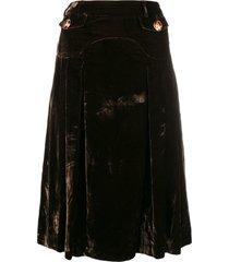 dolce & gabbana pre-owned velvety flared skirt - green