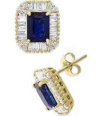 effy sapphire (1-1/3 ct. t.w.) & diamond (1/2 ct. t.w.) stud earrings in 14k gold