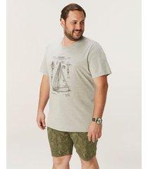 camiseta sailboat tradicional em meia malha wee! cinza claro - m