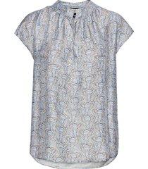 3418 - prosi top s blouses short-sleeved blauw sand
