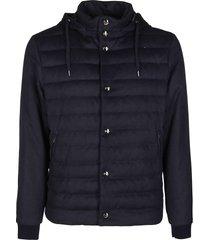 herno navy silk-cashmere blend down jacket