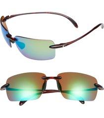 costa del mar gulfshore xl 66mm polarized sunglasses in tortoise/green mirror at nordstrom