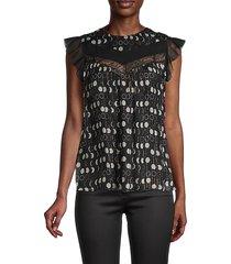 redvalentino women's polka dot lace-trim top - nero - size 40 (8)