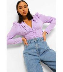geplooide blouse met knopen, lilac