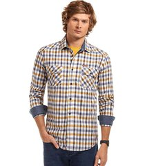 camisa manga larga checkered amarillo ferouch