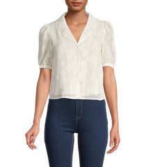dress forum women's floral jacquard button-down top - ivory taupe - size m